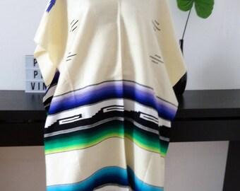 Poncho Mexican white - green - blue - purple