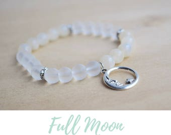 Full Moon Bracelet / boho bracelet ideas, meditation bracelets, spiritual mom gift for yoga mom, yoga energy bracelet, moonstone bracelets