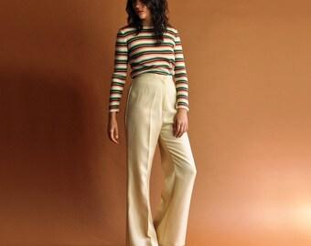 70s Beige Trousers, Vintage High Waisted Pants, Beige Bell Bottoms, 1970s Wide Leg Pants, Minimal Wide Leg Trousers, Womens Medium