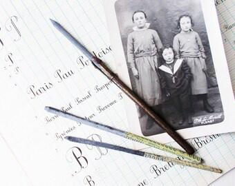 French Pen Holder Antique Bronze Slate or Chalk School Pen Holder