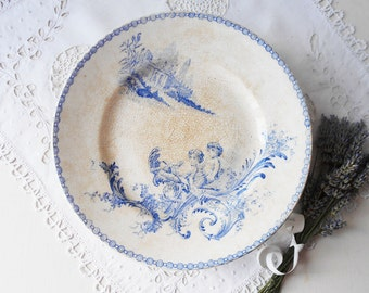 Antique Cake Stand French Ironstone White Blue Cherubs Angels Tea Stained
