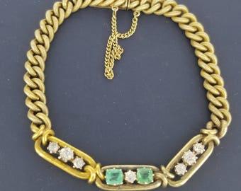 Russian 14k Gold Emerald and Diamond Bracelet