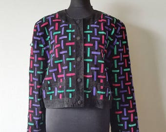 Suede jacket 80s/90s with shoulderpads size 42
