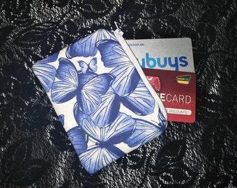 Coin Purse/Small Zippered Pouch/Card Holder/Card Pouch/Change Purse, Money Purse/butterflies Blue