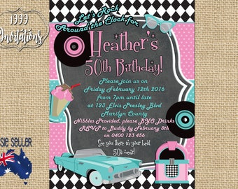 Printable Rock and Roll Invitation - Rockabilly Party - 50s Party - 1950s Party - Rock 'n Roll - Rockabilly