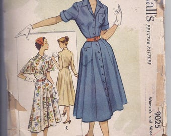 Vintage McCalls Sewing Pattern 9025 from 1950's  Misses Dress, Fitted Bodice, Full Skirt.  Retro  Bust 34