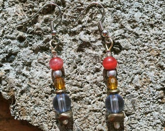 Magenta Blue Yellow Bead Dangle Earrings