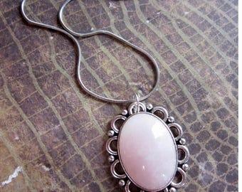 Pale Pink Rose Quartz Necklace, Healing Crystal Necklace, Rose Quartz Silver Necklace, Floral Rose Quartz Necklace, Rose Quartz Jewelry