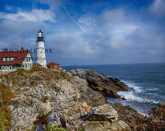 Lighthouse, Maine, Portland Head Light, Casco, Harbor, Rocks, Clouds, Cape Elizabeth, Photo, Photography, Photograph, Christmas, Hanukkah