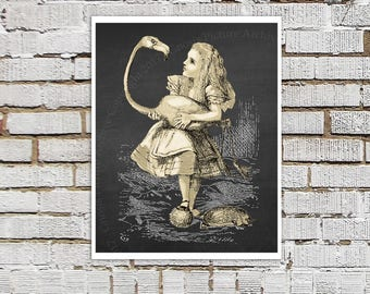 Alice and the Flamingo Art Print Alice's Adventure in Wonderland Children's Literature Alice Wonderland Nursery Wall Decor