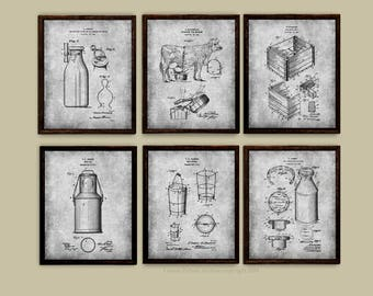 Dairy Farm Decor set of 6 Art Prints Dairy Cow Milk Bottle Milk Can Milk Bucket Milk Crate Patents - Dairy Farmer Gift