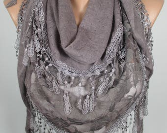 BrownTulle Lace Scarf Wedding Scarf Bridesmaids Gift Bridal Accessories Women Fashion Accessories Christmas Gift Ideas