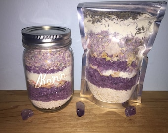 Lavender Oatmeal Milk bath - Organic goats milk and oatmeal Lavender bath soak - Lavender oatmeal bath soak - oatmeal milkbath