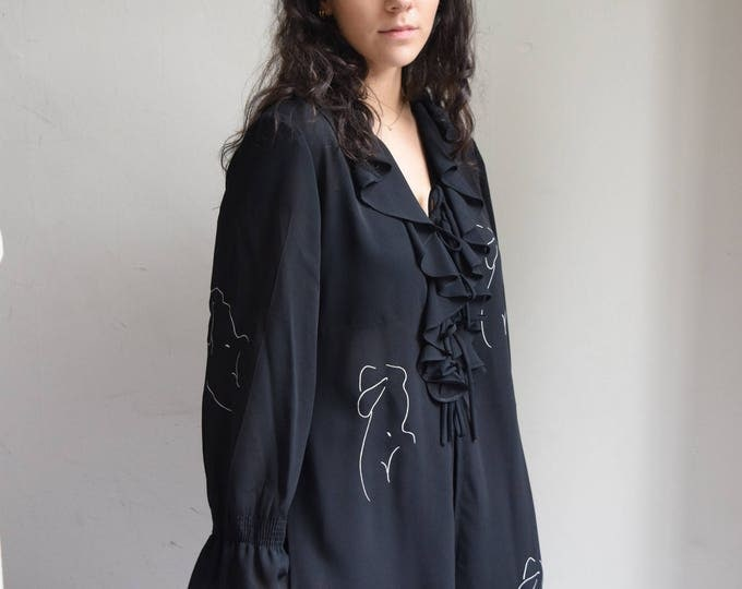 Audrey Semi Sheer Black Ruffled Blouse.