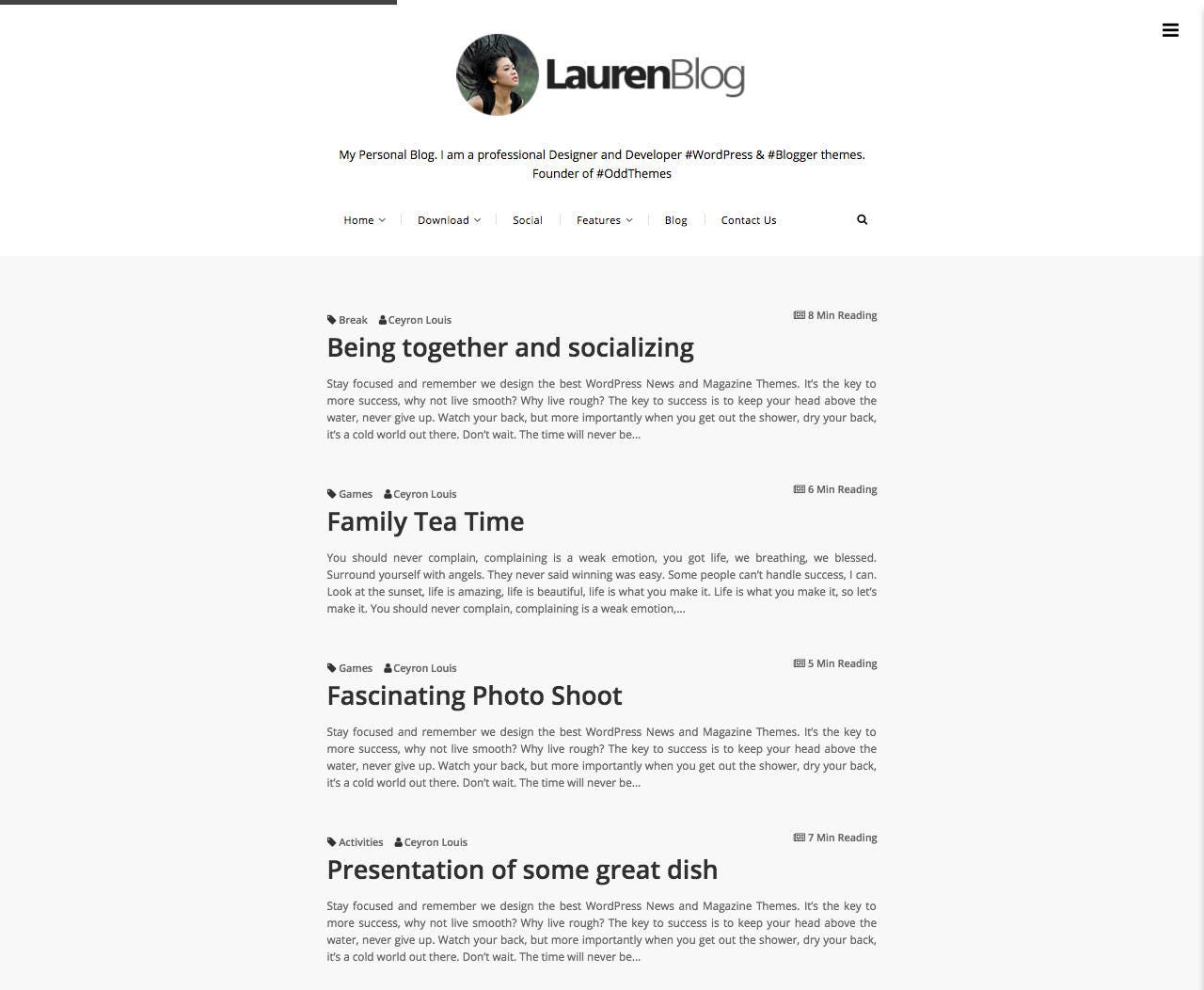 Lauren - Simple Blogger Template | Premade blogger templates ...