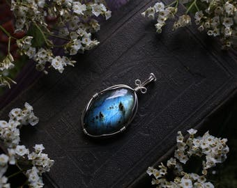 RESERVED * Sterling SIlver Blue Yellow Wire Wrapped Oval Labradorite Pendant