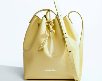 Yellow patent leather bucket bag, women leather bag, red bucket bag, leather shoulder bag