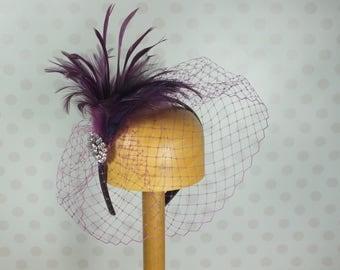 Purple Birdcage Veil Fascinator Crystal brooch Feather Mount Races netting Wedding hair comb net emperor vintage retro