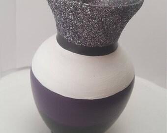 Halloween Inspired Vase with Black,White & Purple Glitter