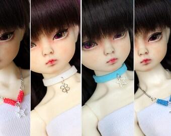 1/4 MSD bjd doll accessories silverish cute tiny stars / clover necklace / choker 4 pcs