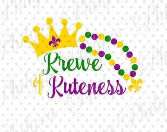 Krewe of Kuteness with Mardi Gras, Crown Mardi Gras Svg, Boy Mardi Gras Svg, Digital Cutting File DXF