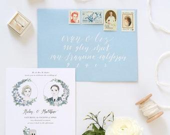 Dusty Blue Illustrated Wedding Invitation | Custom Hand Drawn Invitation for Weddings & Special Events