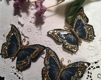 Black Satin and Gold Glass Bodied Butterflies DarlingArtByValeri Scrapbooking Embellishments Mini Album Card Making Gifts Little Black dress