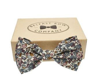 Handmade Liberty Bow Tie in Floral Fig Print - Adult  & Junior sizes available
