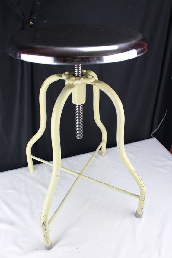 Industrial Age Machinist Stool White and Stainless Steel Adjustable Screw Top Vintage Home decor