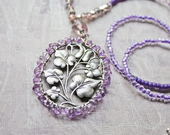 Sterling Silver Beaded Necklace, Purple Necklace, Seed Beads, Wire Wrapped Pendant, Amethyst Jewelry, Assemblage Jewelry, Romantic Jewelry