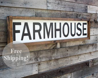 "Large Wood Sign • 34"" x 8"" • FARMHOUSE • Free Shipping • Home Decor • Farmhouse Decor"