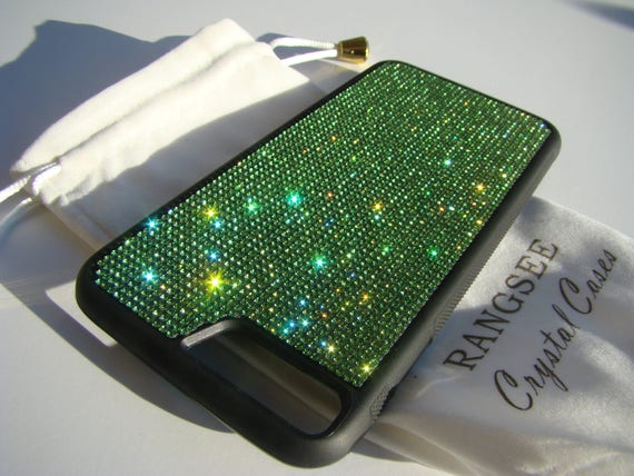 iPhone 8 Plus / iPhone 7 Plus Green Peridot Rhinestone Crystal on Black Rubber Velvet/Silk Pouch Bag Included, .