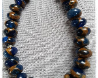 Jade-Rondelle in brown/blue