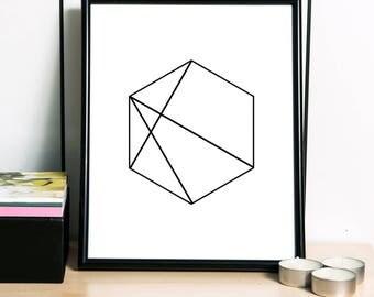 Geometric Print, Polygon Art Print, Scandinavian Print, Modern Print, Simple Print, Geometric Artwork, Abstract Art - 3 DIFFERENT Sizes