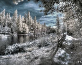 Lake Fulmor, Idyllwild California Infrared Fine Art Photography, Metallic Paper  / Metal Print