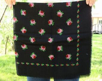 Vintage Black shawl Russian shawl Wool scarf Russian scarf Black scarf Floral shawl Ukrainian shawl Winter shawl Winter scarf Gift for women