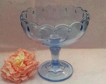 Vintage Blue Glass Teardrop Pedestal Compote,Indiana Glass Teardrop Pedestal, Candy Dish, Vintage, Blue Glass Compote,Junkyardblonde,Indiana