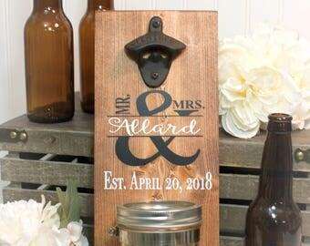 Wedding Gift For Couple - Bridal Shower Gift For Couple - Anniversary Gift For Couple - Gift With Date - Bottle Opener - Beer Opener - Groom