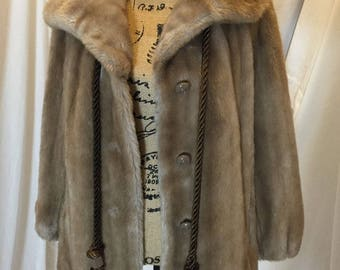 Vintage 60s 70s Sears Fashions Faux Fur Jacket Coat Mid Length Tan ILGWU Union Tag