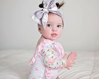 PLATINUM GINGHAM Gorgeous Wrap- headwrap; fabric head wrap; plaid head wrap; boho; newborn headband; baby headband; toddler headband