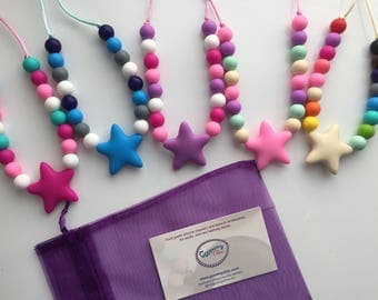 Non toxic jewelry - Kids bijouterie - Star silicone necklaces - Toddler necklace - Dress up jewelry - Chew necklaces - Kid sensory necklace