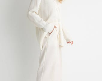 90s White Oversized Cardigan L
