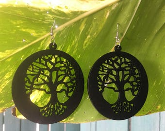 Tree Of Life Painted Wood Earrings. Tree Of Life Earrings. Big Earrings. Black Painted Earrings, Big Earrings, Valentine's Day