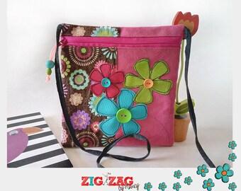 """Pocket zippered shoulder """"Bigkarre"""" flowers-Rose/chocolate"""