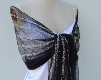 Stole embroidered lace, cocktail Black Lace scarf, shawl black embroidered lace, lace shoulder warmer, Black Lace