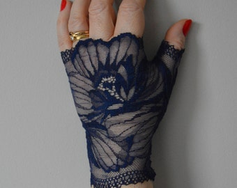 Fingerless lace short Navy evening, fingerless lace short mariane dressed, Navy mittens, gloves mariane short fingerless gloves costs