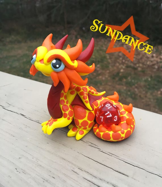 Polymer Dragon Dice Holder-Yellow, Orange and Red Dragonling: Sundance