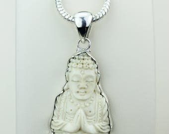 Folded Hands / Seated Position Praying Buddha TOTEM Goddess Face Moon Face Bone Carving 925 S0LID Sterling Silver Pendant + 4MM Chain p4313