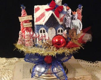 Patriotic 4th of July Putz House~ Independence Day Decoration, Red White and Blue, Altered Art, Glitter, Bottle Brush Trees, American Decor