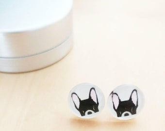 CLEARANCE! Earring beautiful zoreilles dog bulldog glass 10mm stainless steel, painted with exceptional heart tattoos